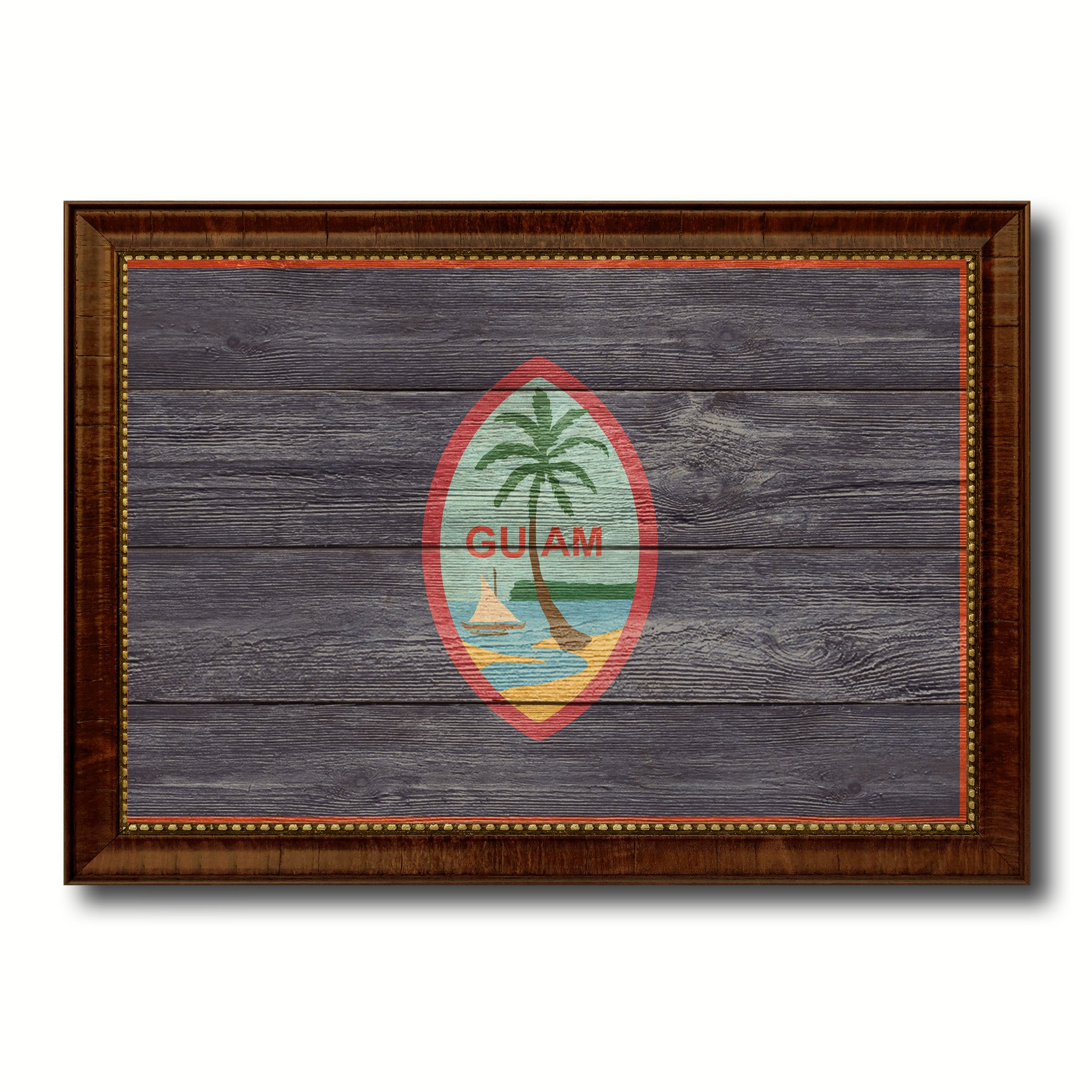 Guam US Territory Texture Flag Canvas Print Brown Picture Frame