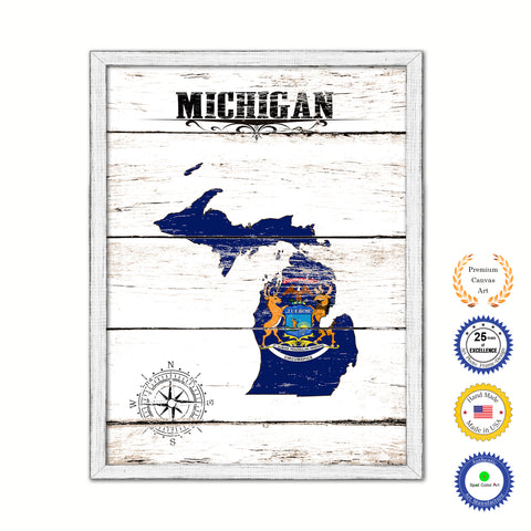 Michigan Flag Gifts Home Decor Wall Art Canvas Print with Custom Picture Frame
