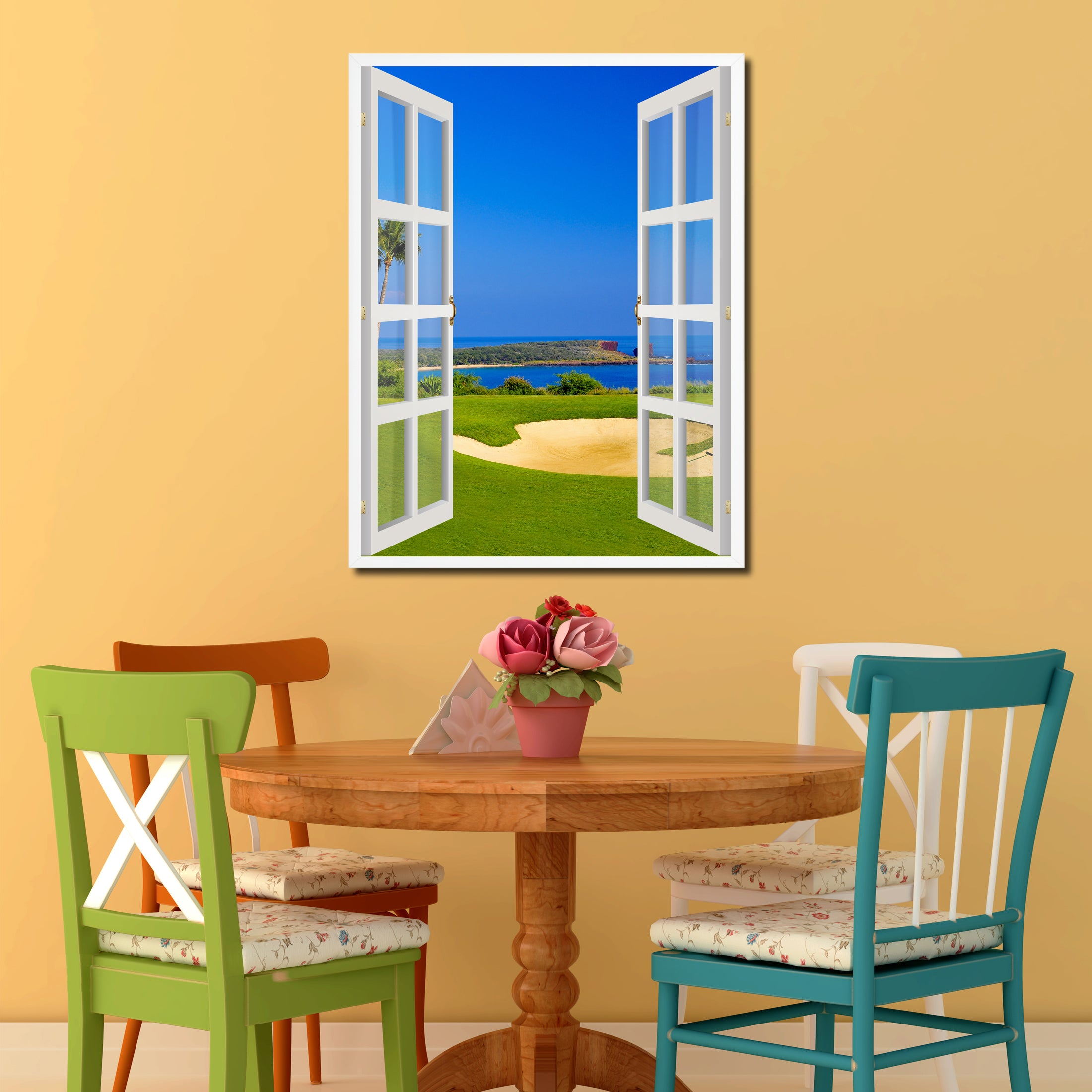 Coastal Golf Course Picture French Window Canvas Print with Frame Gifts Home Decor Wall Art Collection