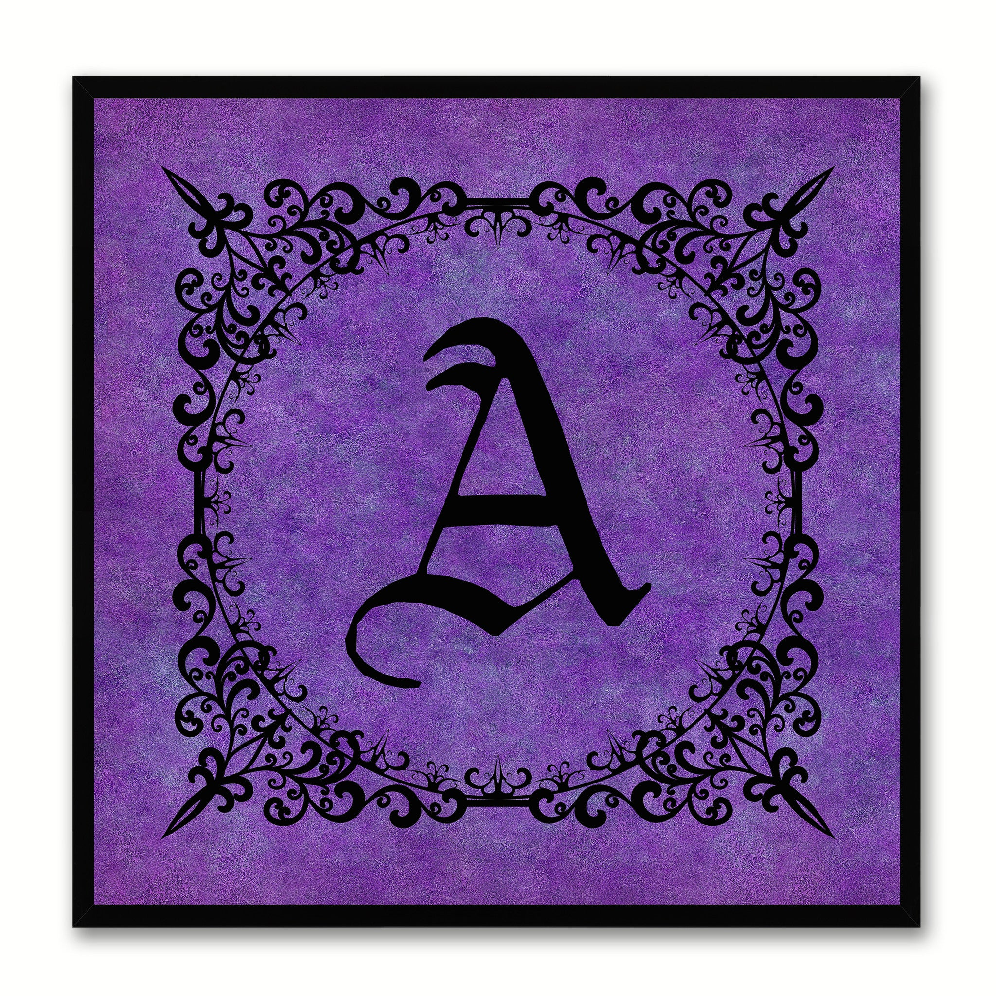 Alphabet A Purple Canvas Print Black Frame Kids Bedroom Wall Décor Home Art