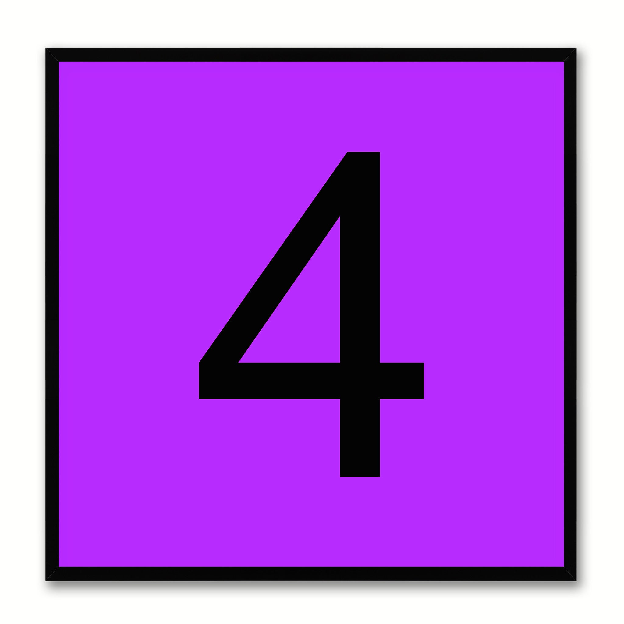 Number 4 Purple Canvas Print Black Frame Kids Bedroom Wall Décor Home Art