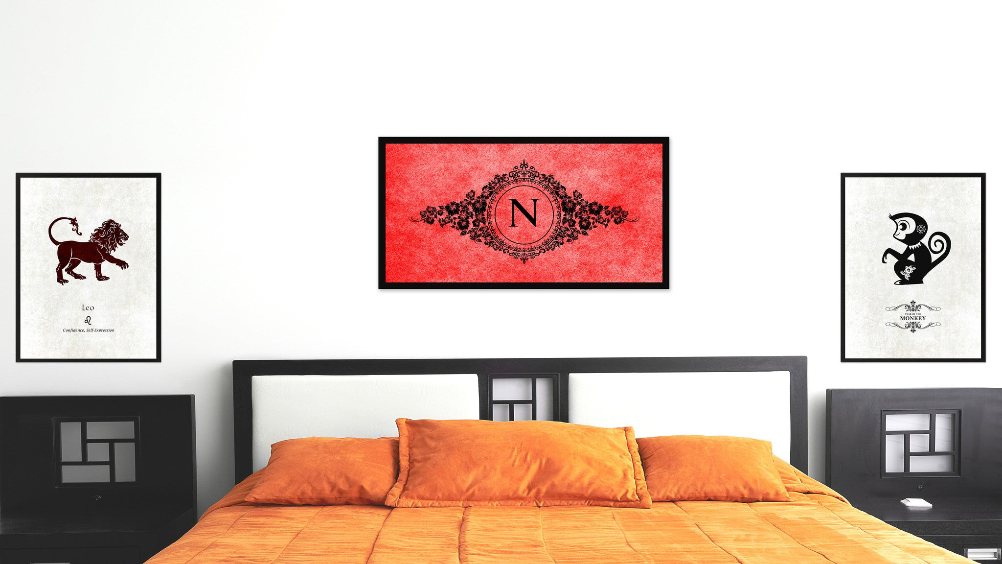 Alphabet Letter N Red Canvas Print, Black Custom Frame