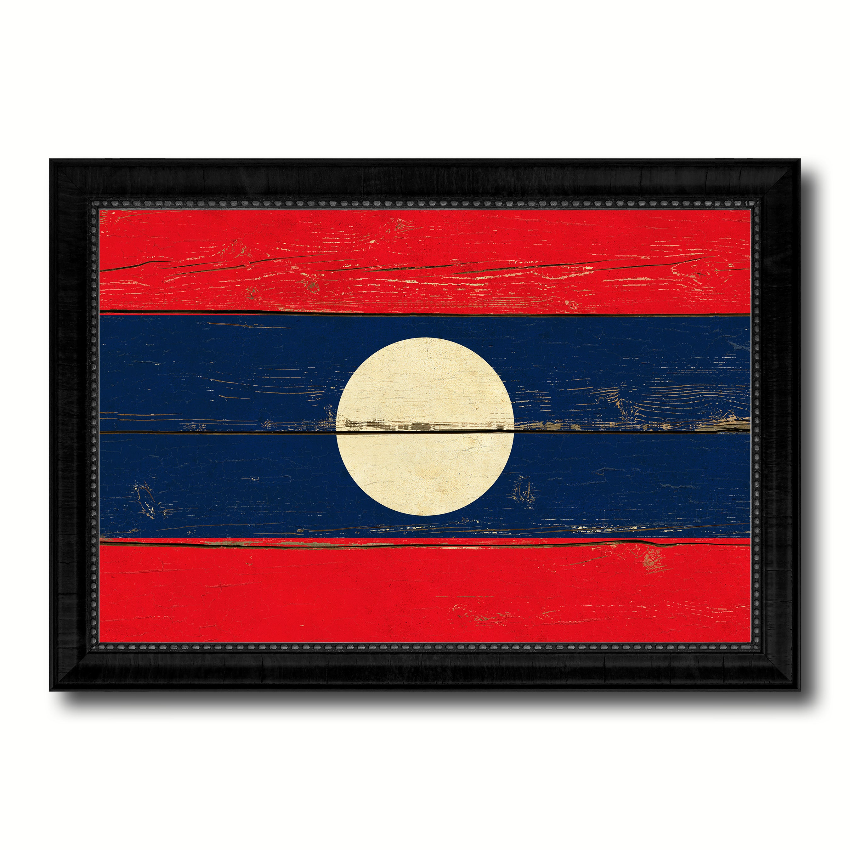 Laos Country Flag Vintage Canvas Print with Black Picture Frame Home Decor Gifts Wall Art Decoration Artwork