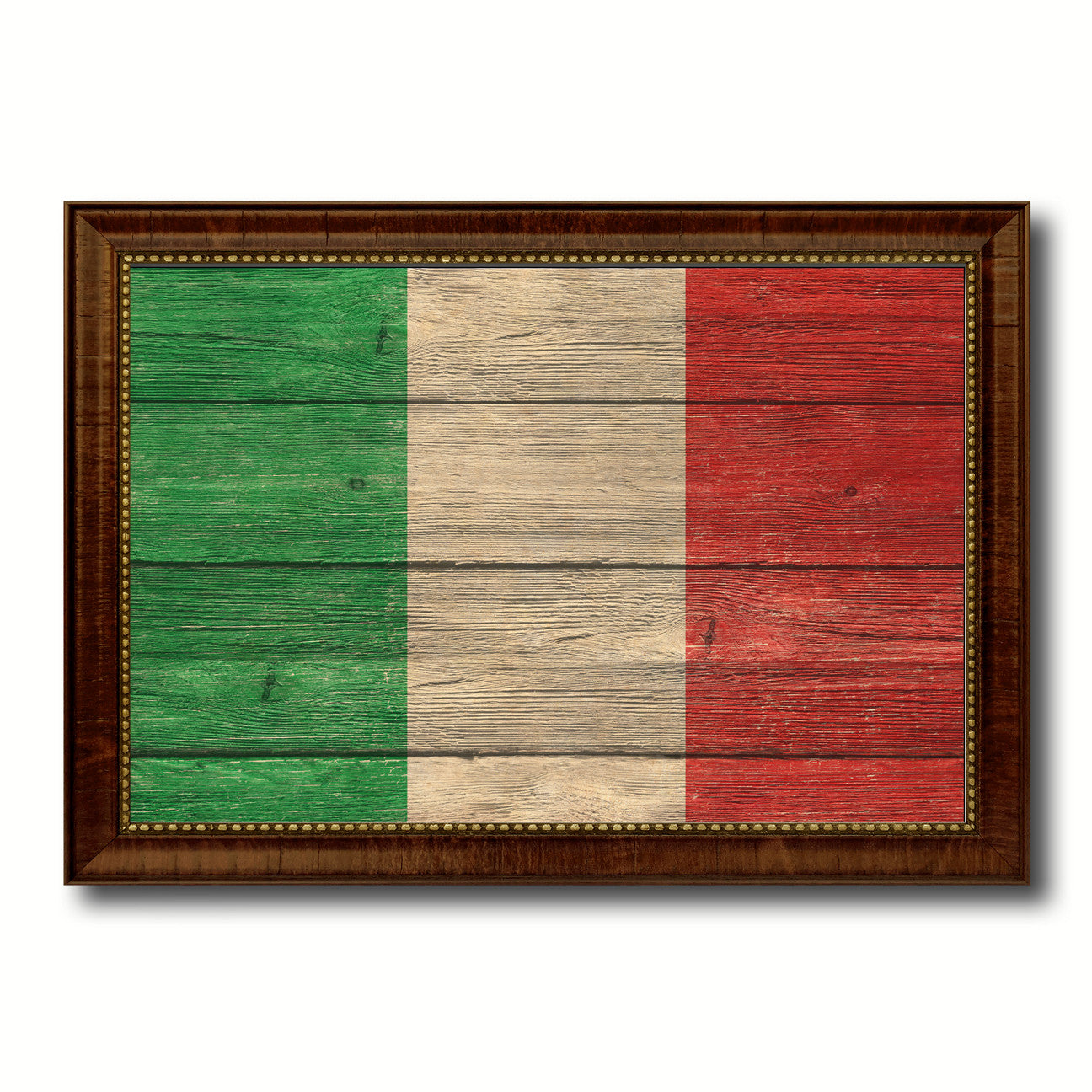 Italy Country Flag Texture Canvas Print with Brown Custom Picture Frame Home Decor Gift Ideas Wall Art Decoration