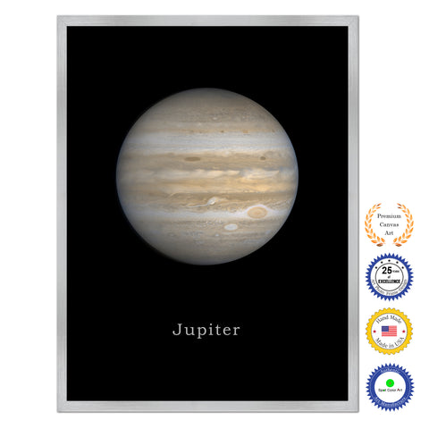 Pluto Print on Canvas Planets of Solar System Silver Picture Framed Art Home Decor Wall Office Decoration