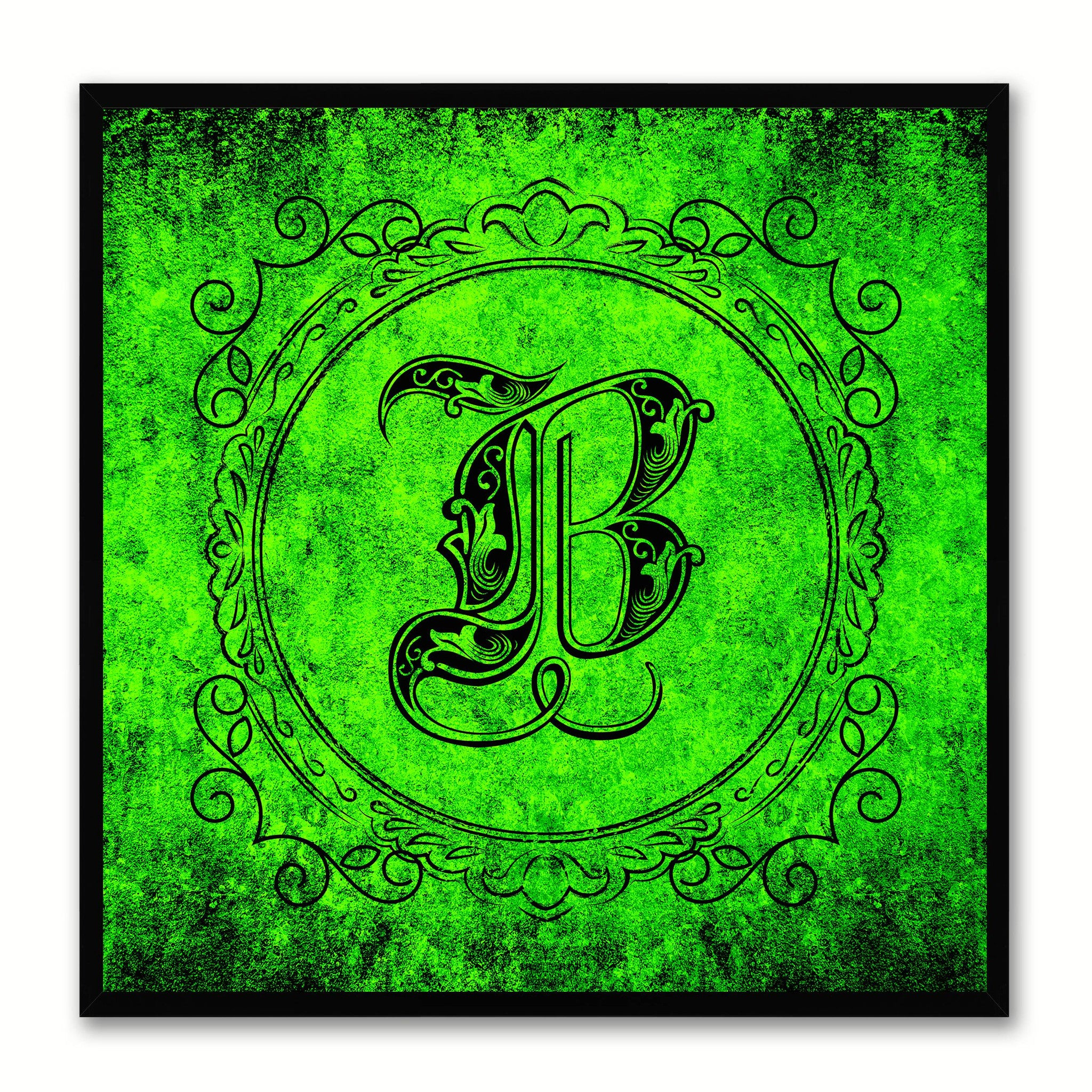 Alphabet B Green Canvas Print Black Frame Kids Bedroom Wall Décor Home Art
