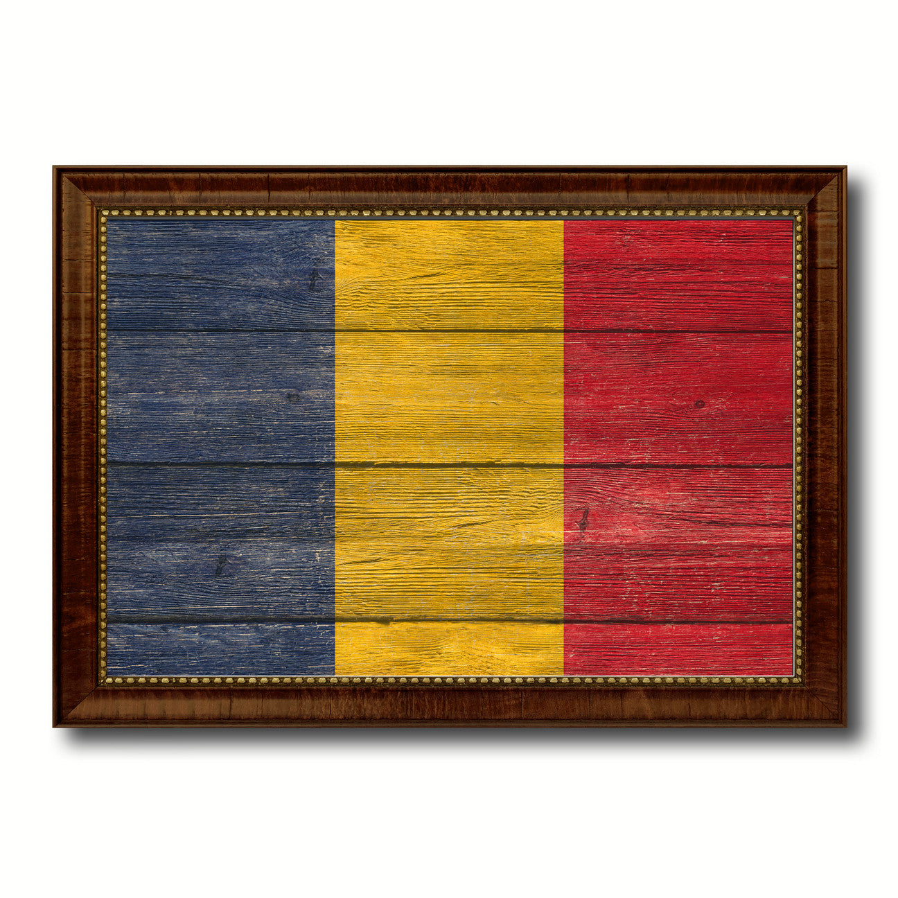 Chad Country Flag Texture Canvas Print with Brown Custom Picture Frame Home Decor Gift Ideas Wall Art Decoration