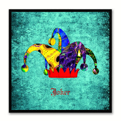 Joker Aqua Canvas Print Black Frame Kids Bedroom Wall Home Décor