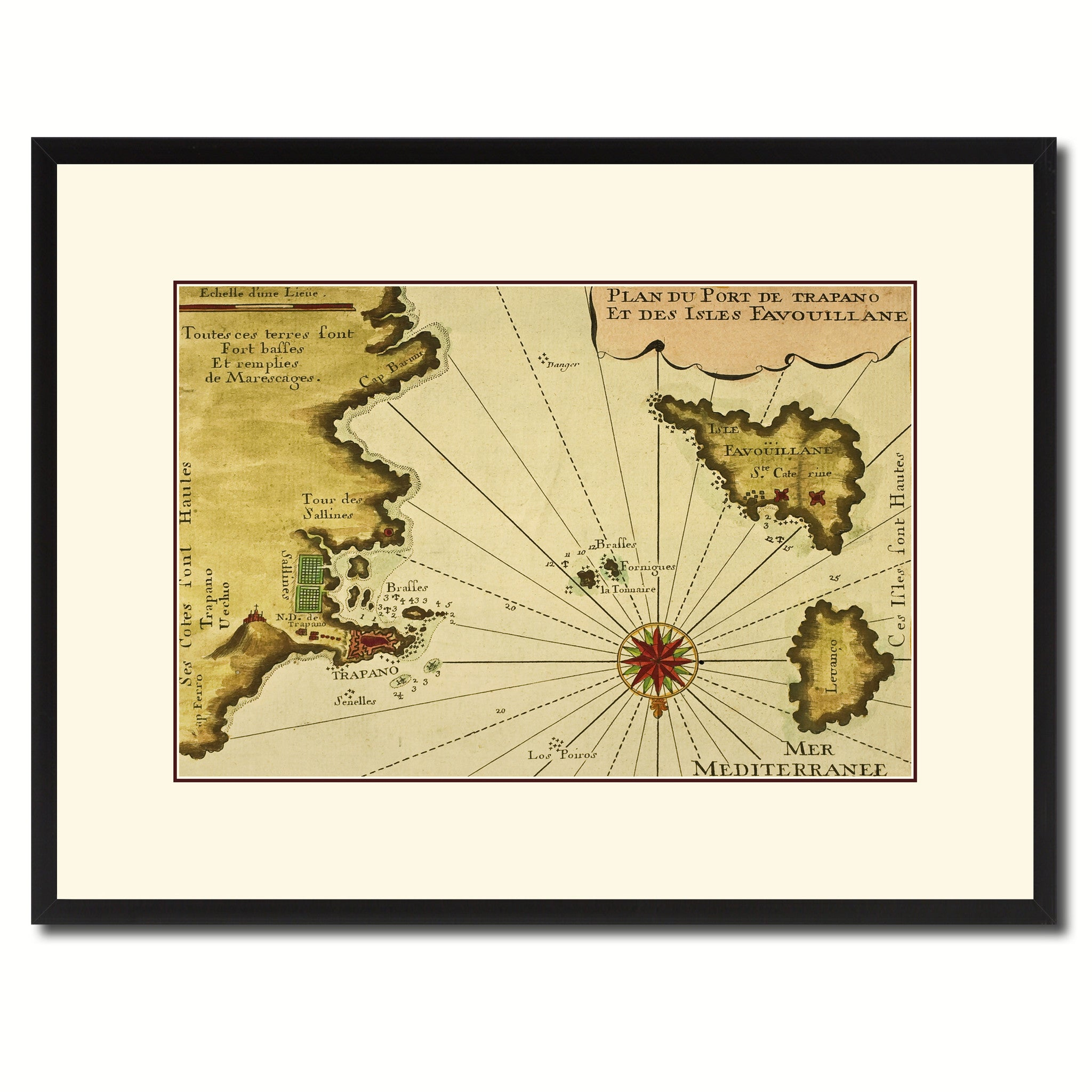 Sicily West Aegadian Islands Vintage Antique Map Wall Art Bedroom ...