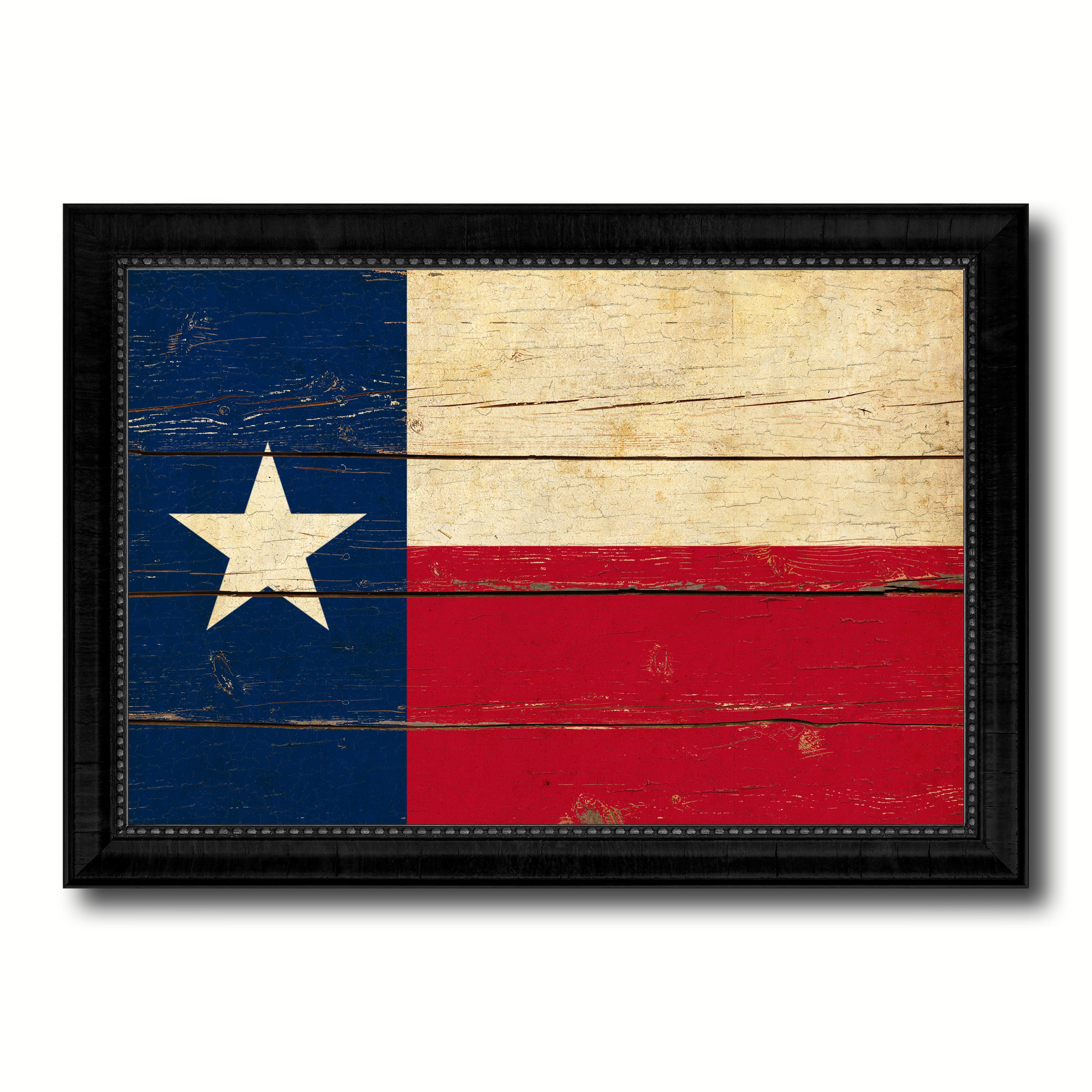 Texas State Vintage Flag Canvas Print with Black Picture Frame Home ...