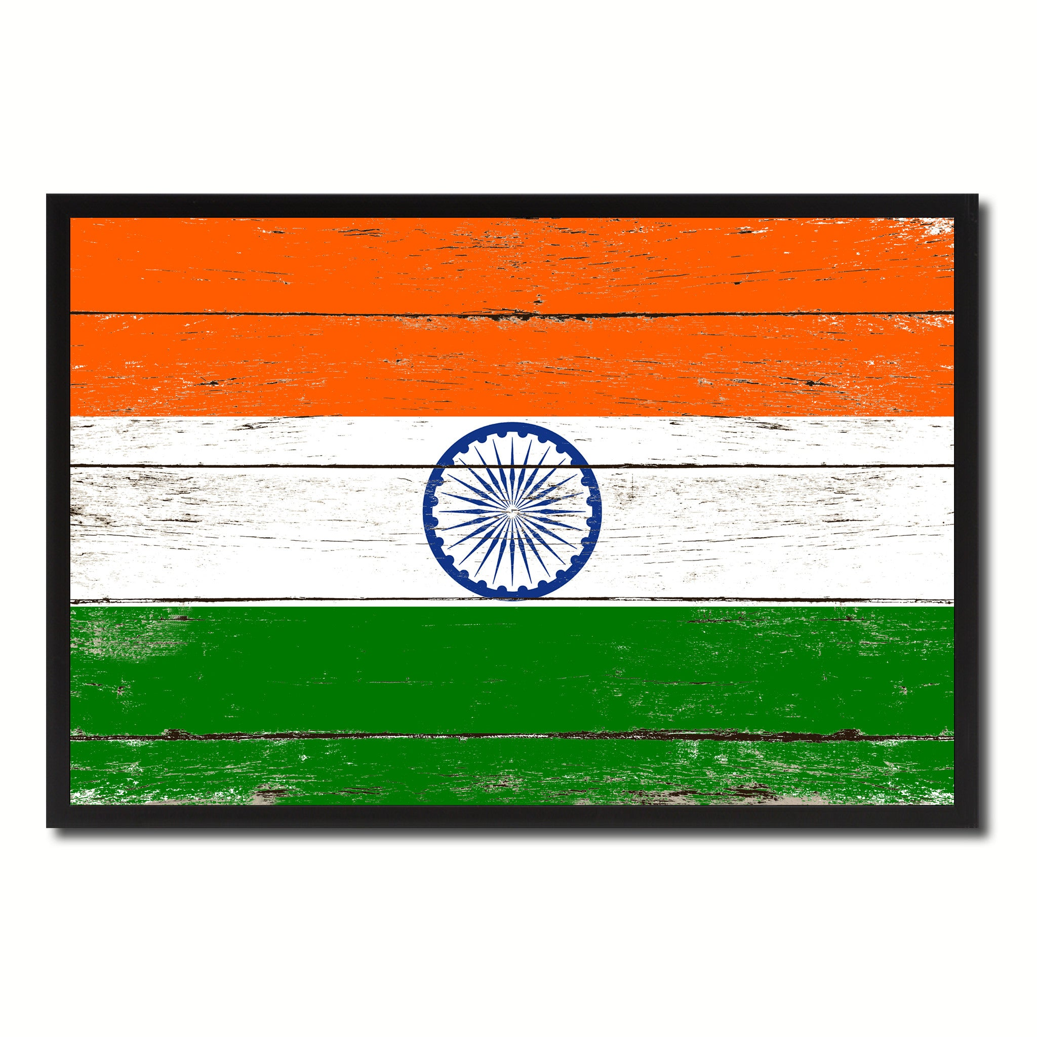 India Country National Flag Vintage Canvas Print with Picture Frame Home Decor Wall Art Collection Gift Ideas