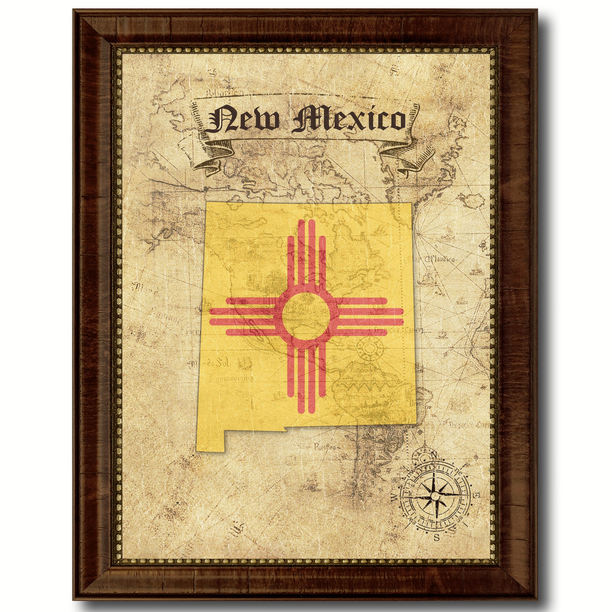 New MexicoState Vintage MapArt Office Wall Home Decor Rustic Gift ...