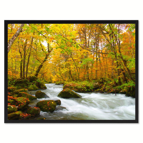 Autumn Stream Yellow Landscape Photo Canvas Print Pictures Frames Home Décor Wall Art Gifts
