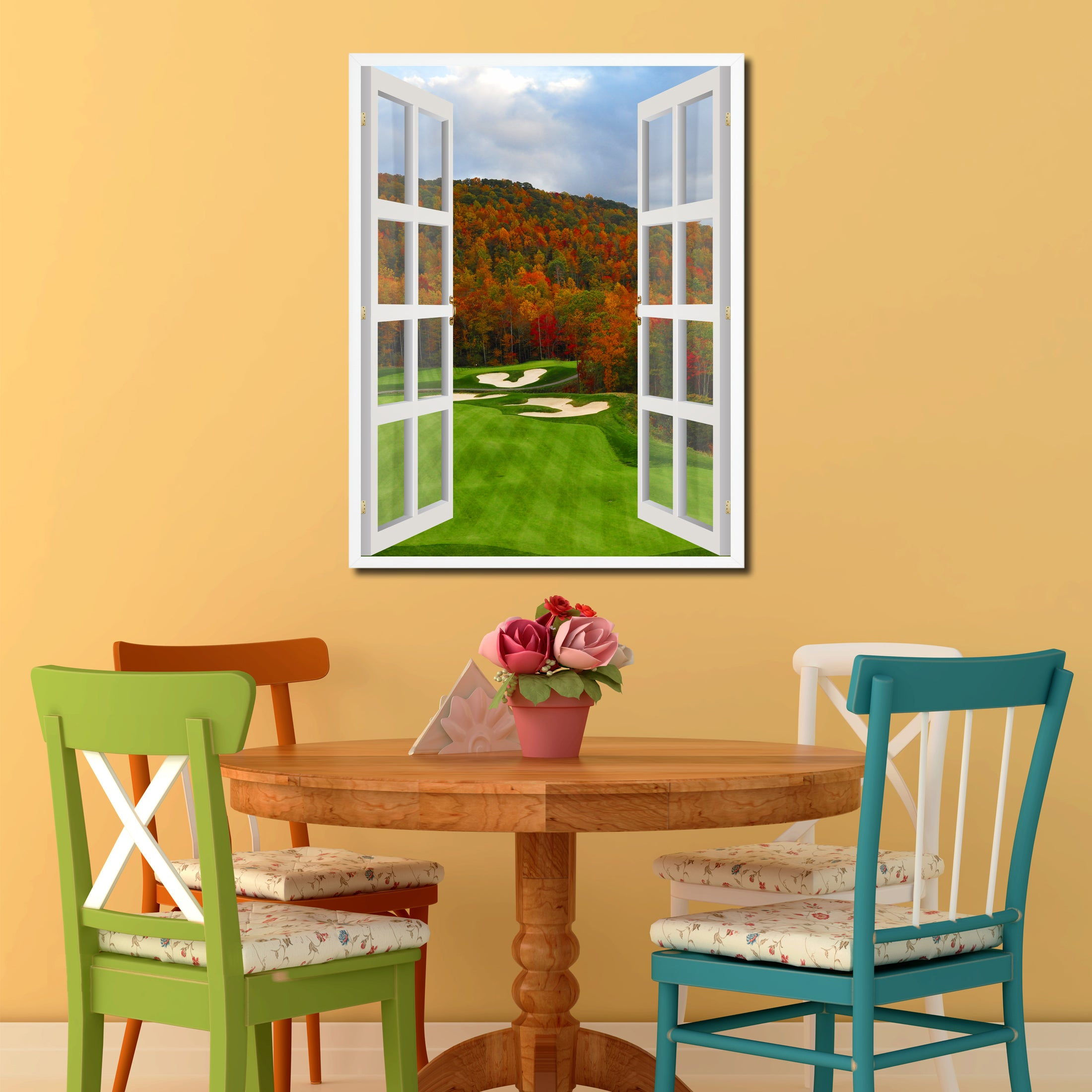 North Carolina Golf Course Autumn View Picture French Window Canvas Print with Frame Gifts Home Decor Wall Art Collection