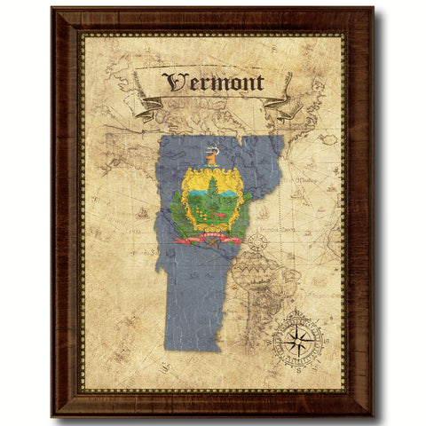 Vermont State Vintage Map Home Decor Wall Art Office Decoration Gift Ideas
