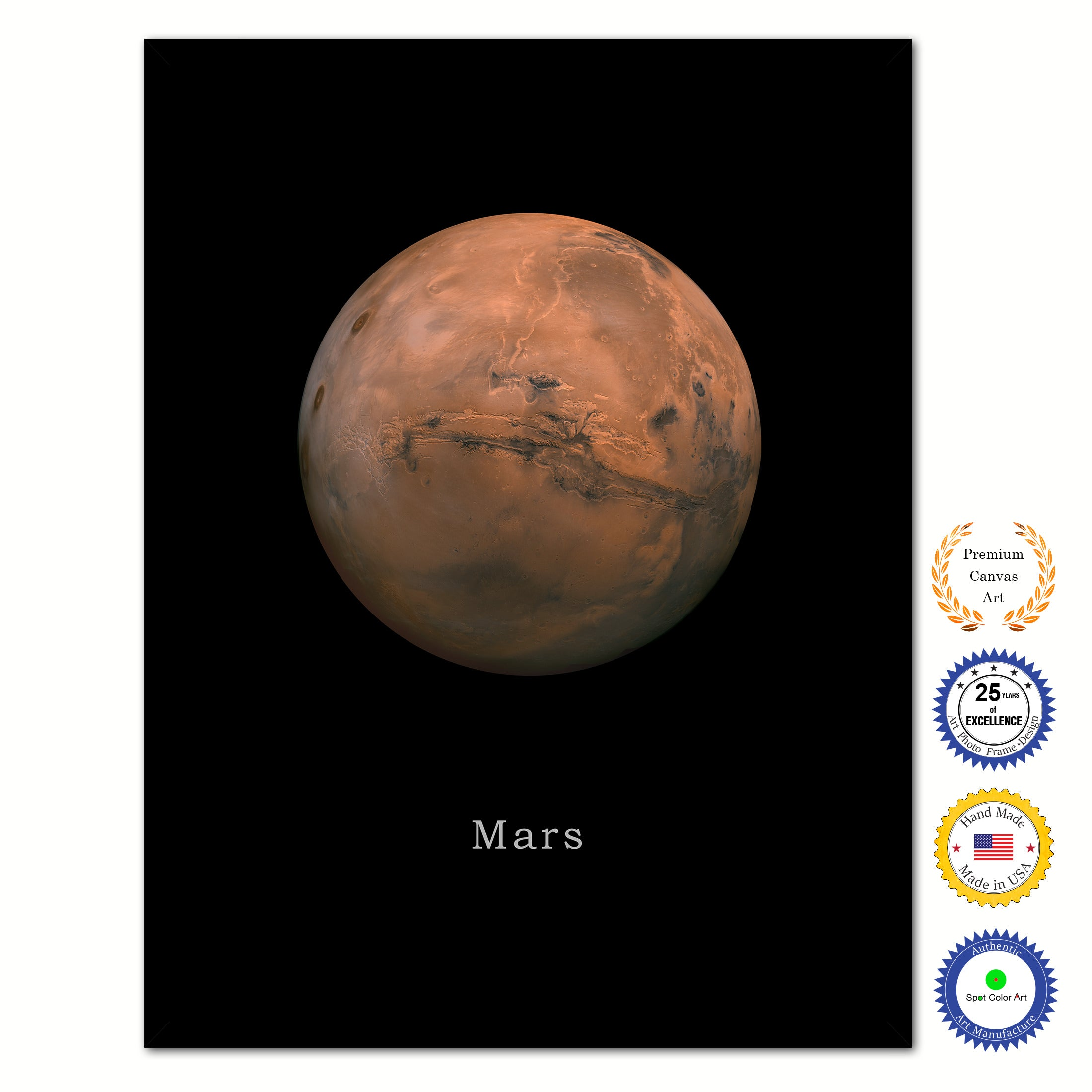 Mars Print on Canvas Planets of Solar System Black Custom Framed Art Home Decor Wall Office Decoration