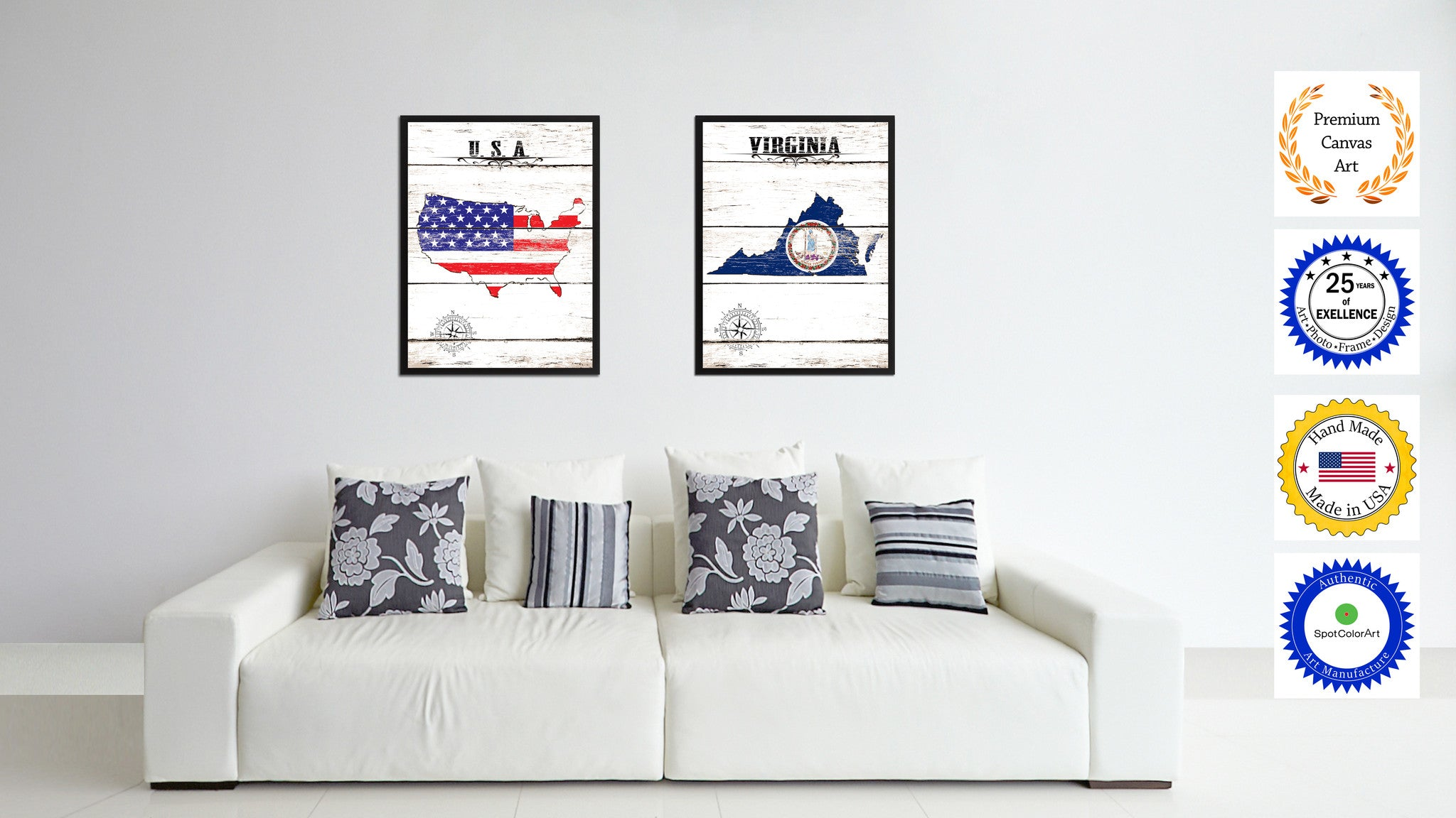 Virginia State Flag Gifts Home Decor Wall Art Canvas Print Picture Frames