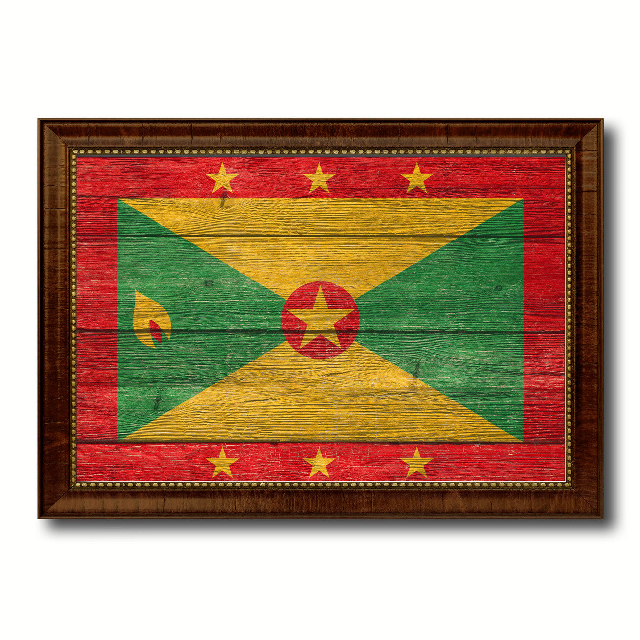Grenada Country Flag Texture Canvas Print with Brown Custom Picture Frame Home Decor Gift Ideas Wall Art Decoration