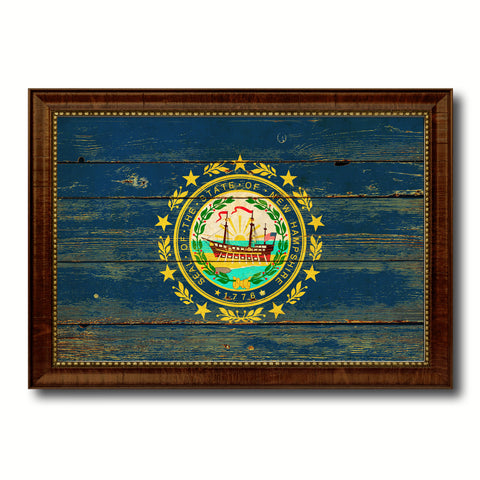 New Hampshire State Vintage Flag Canvas Print with Brown Picture Frame Home Decor Man Cave Wall Art Collectible Decoration Artwork Gifts