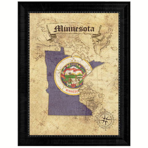 Minnesota State Vintage Map Gifts Home Decor Wall Art Office Decoration