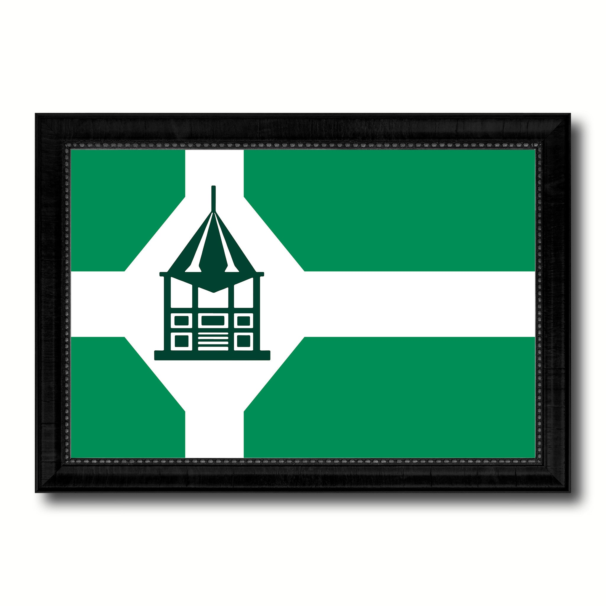Milford City Connecticut State Flag Canvas Print Black Picture Frame
