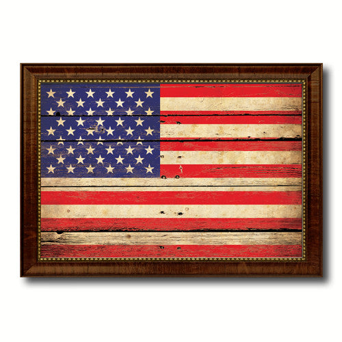 American Flag Vintage Canvas Print with Brown Picture Frame Home Decor Man Cave Wall Art Collectible Decoration Artwork Gifts
