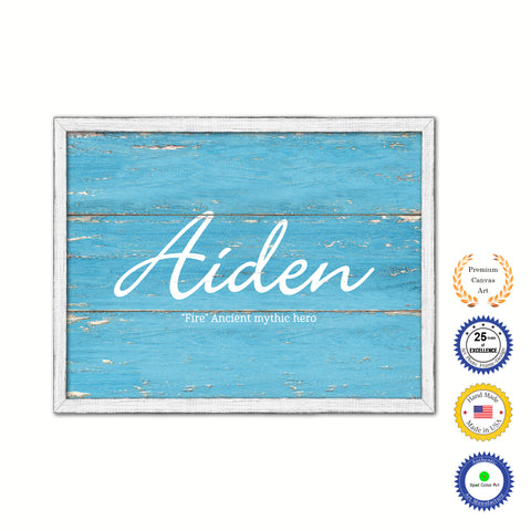 Aiden Name Plate White Wash Wood Frame Canvas Print Boutique Cottage Decor Shabby Chic