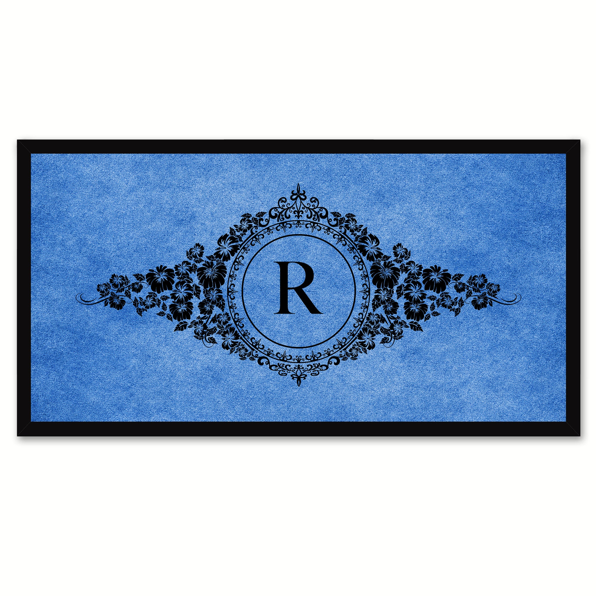 Alphabet Letter R Blue Canvas Print, Black Custom Frame