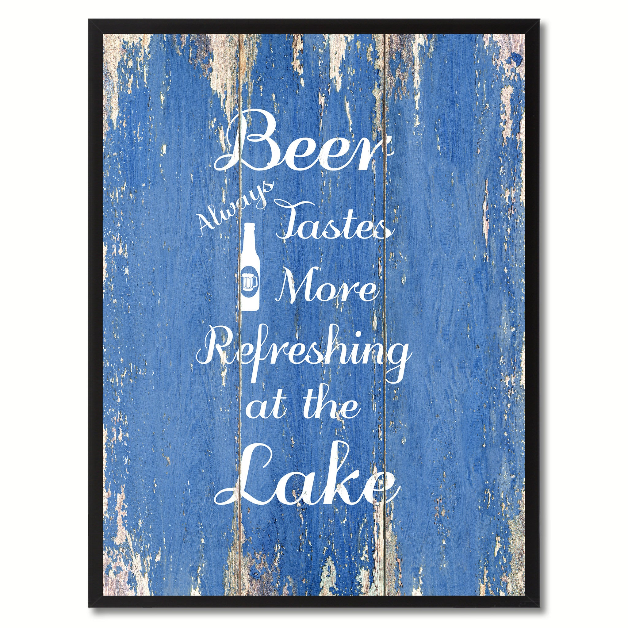 Beer Always Tastes More Refreshing At The Lake Saying Canvas Print, Black Picture Frame Home Decor Wall Art Gifts