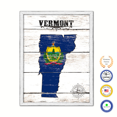 Vermont Flag Gifts Home Decor Wall Art Canvas Print with Custom Picture Frame
