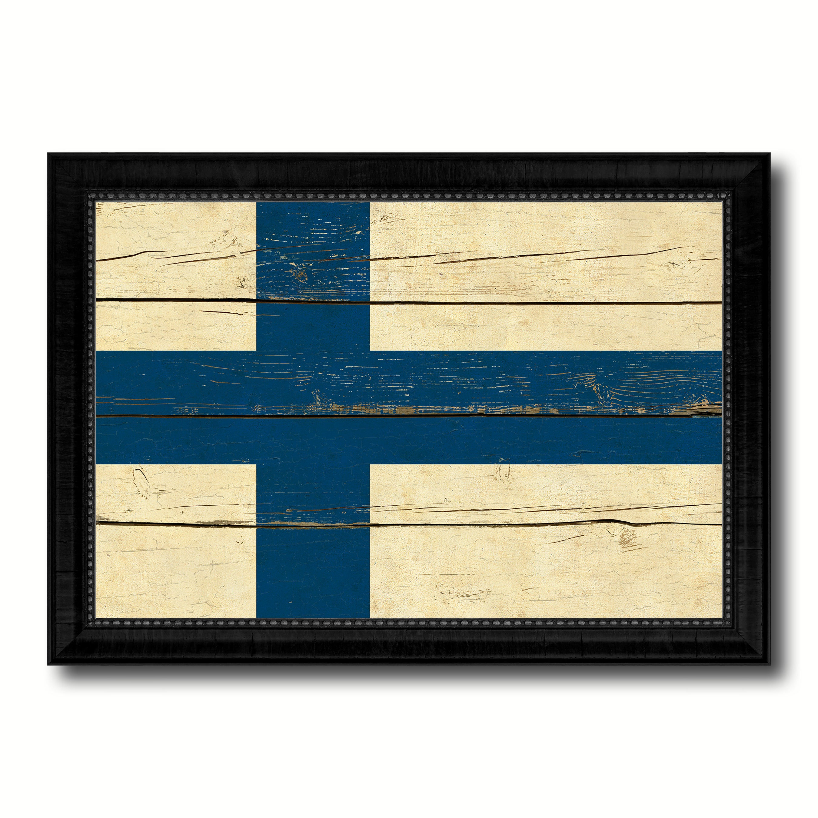 Finland Country Flag Vintage Canvas Print with Black Picture Frame Home Decor Gifts Wall Art Decoration Artwork