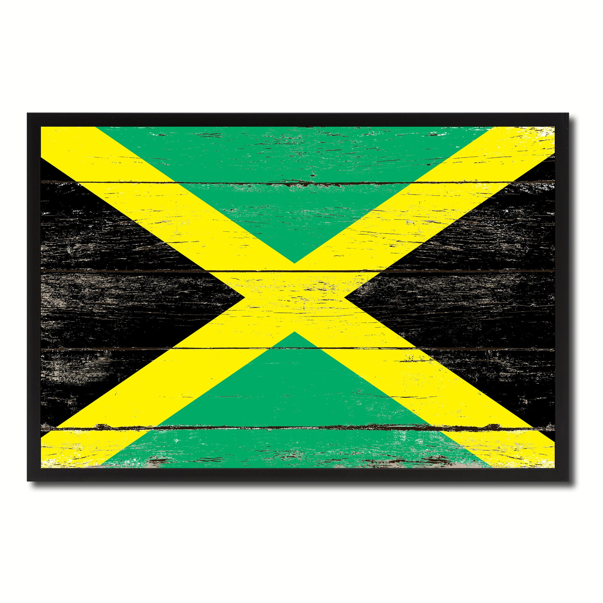 Jamaica Country National Flag Vintage Canvas Print with Picture Frame Home Decor Wall Art Collection Gift Ideas