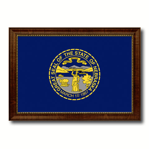 Nebraska State Flag Canvas Print with Custom Brown Picture Frame Home Decor Wall Art Decoration Gifts