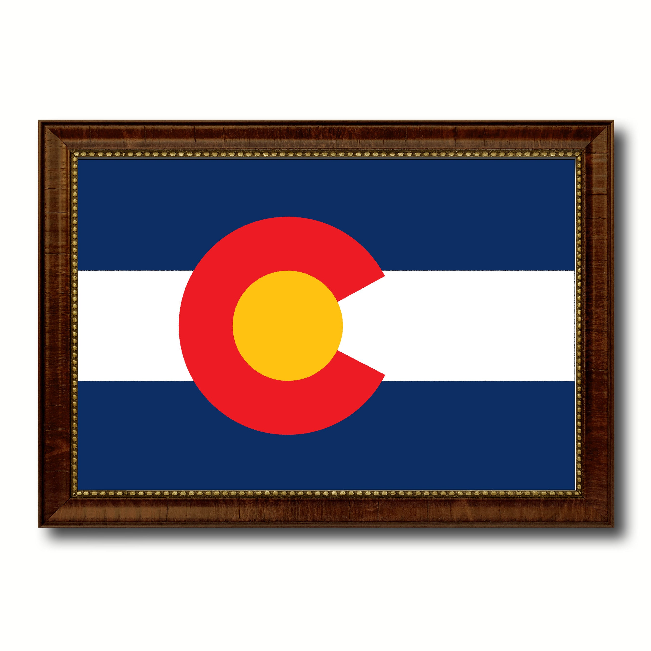 Colorado State Flag Canvas Print with Custom Brown Picture Frame Home Decor Wall Art Decoration Gifts