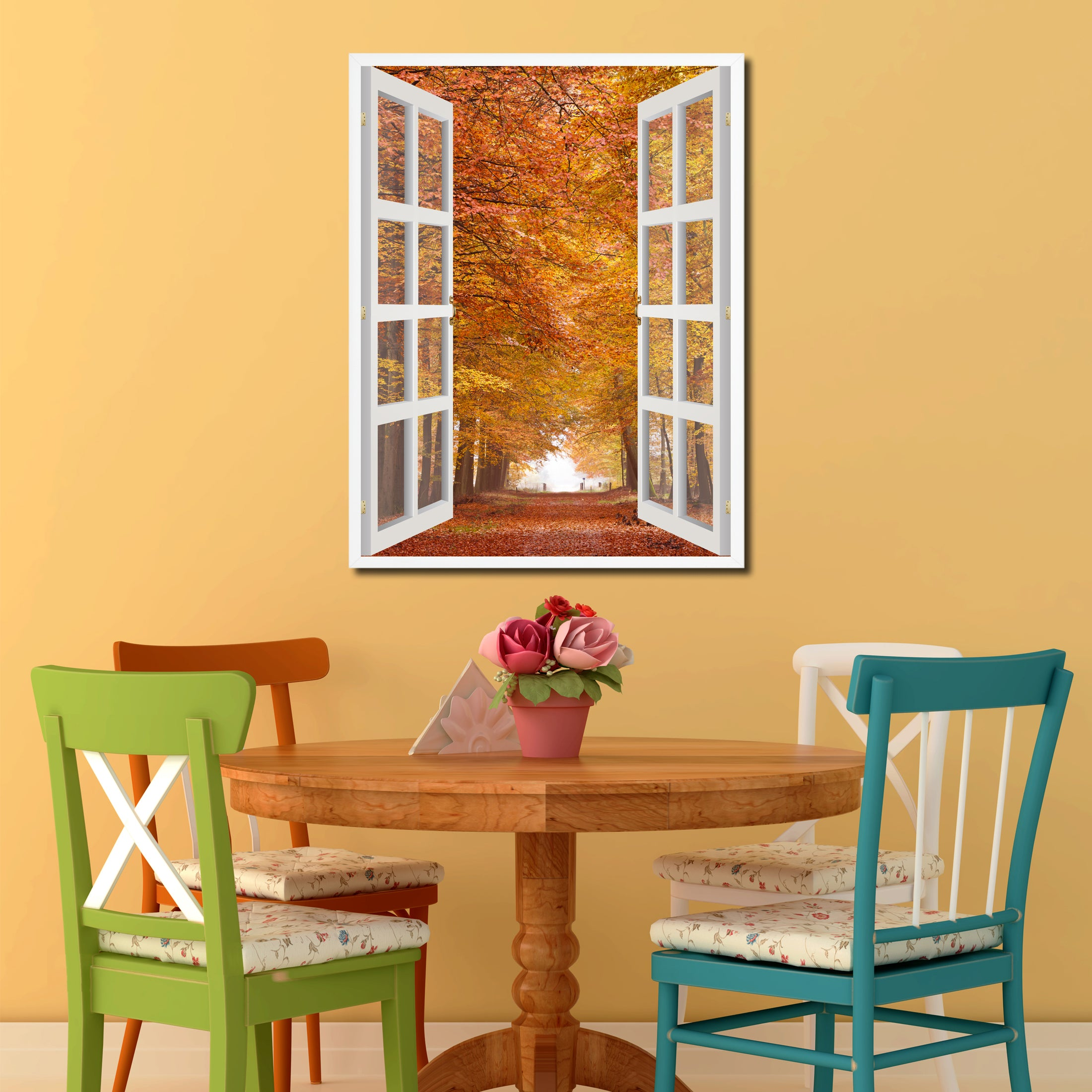 Autumn Trees Red Leaves Picture Window Wall Art Home Decor Gift ...