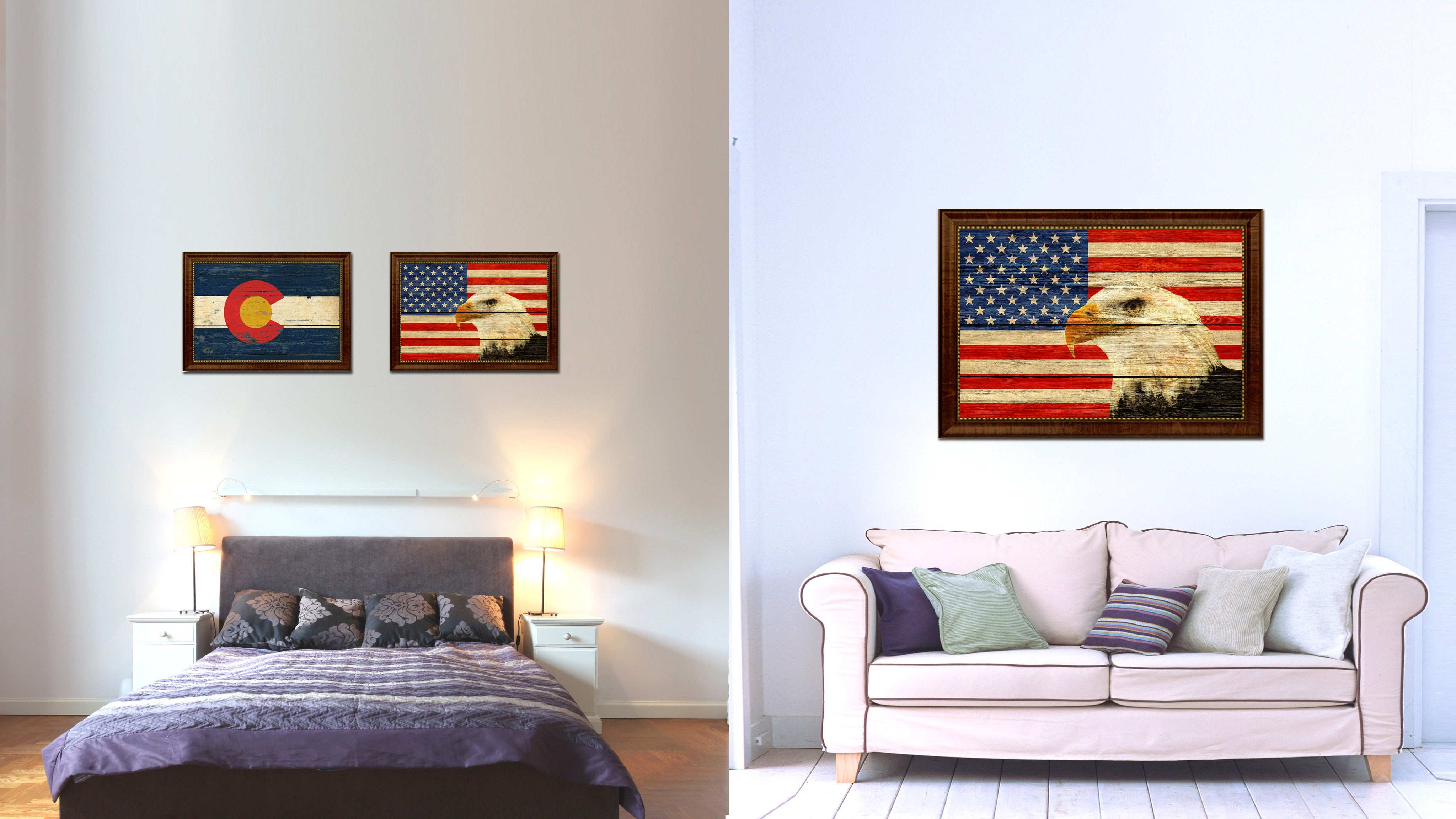 Usa eagle american flag texture canvas print with brown picture frame gifts home decor wall art