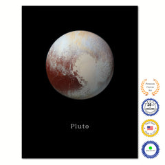 Pluto Print on Canvas Planets of Solar System Black Custom Framed Art Home Decor Wall Offec Decoration
