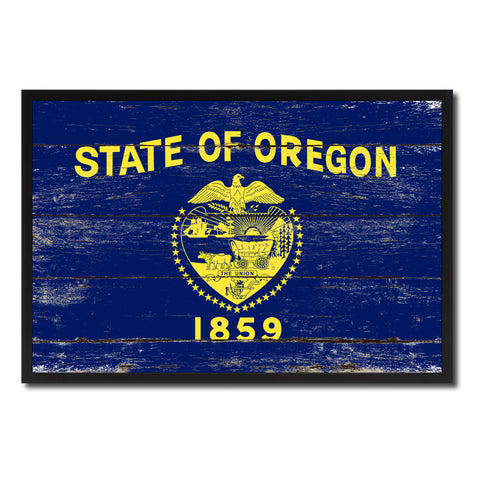Oregon State Flag Vintage Canvas Print with Black Picture Frame Home DecorWall Art Collectible Decoration Artwork Gifts