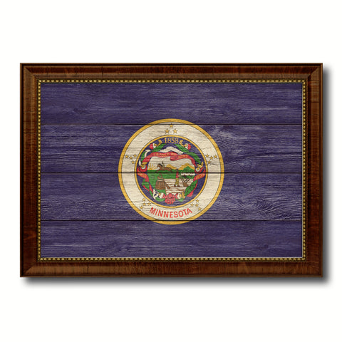 Minnesota State Flag Texture Canvas Print with Brown Picture Frame Gifts Home Decor Wall Art Collectible Decoration