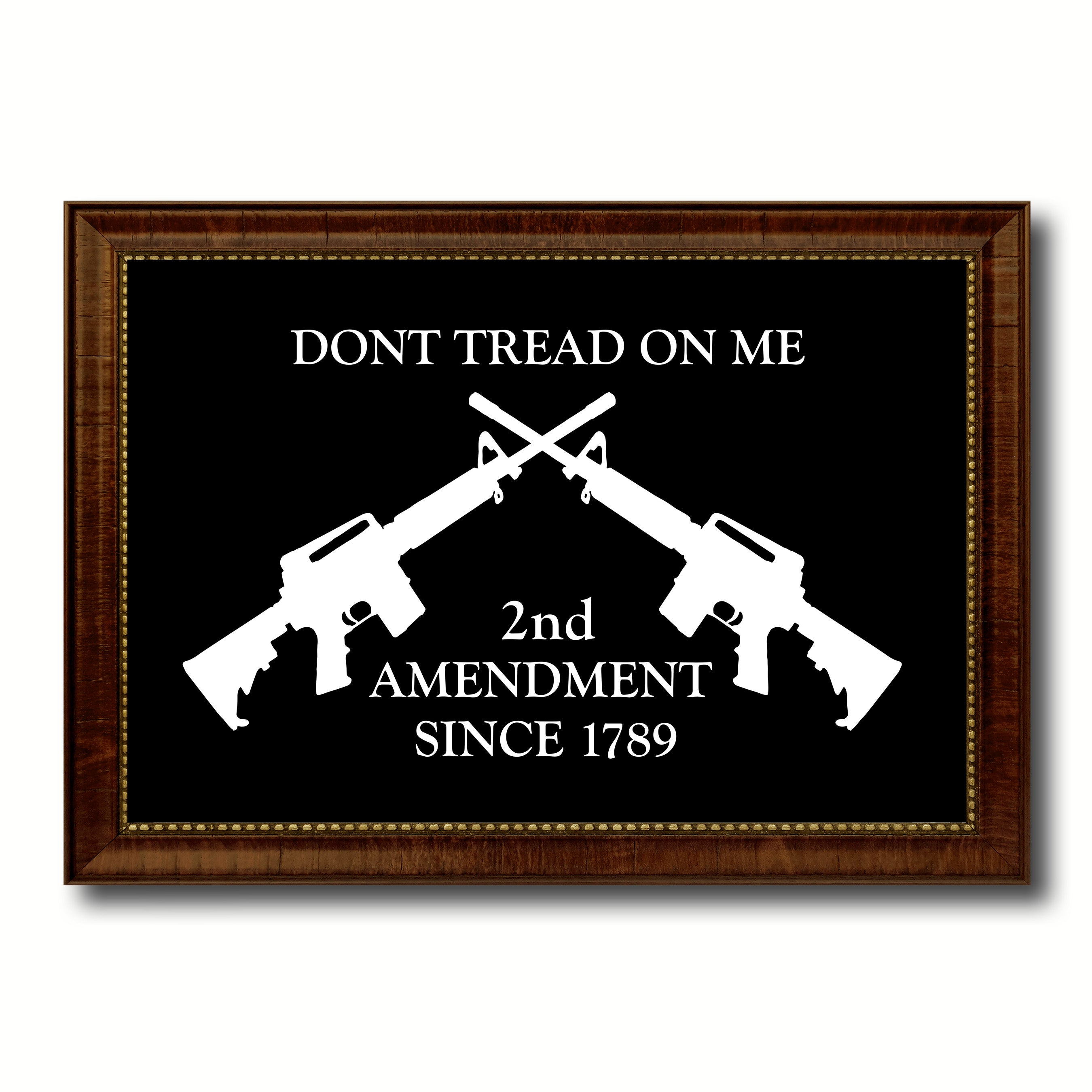 2nd Amendment Dont Tread On Me M4 Rifle Military Flag Canvas Print with Brown Picture Frame Home Decor Wall Art Gift Ideas