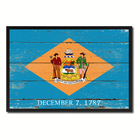 Delaware State Flag Vintage Canvas Print with Black Picture Frame Home DecorWall Art Collectible Decoration Artwork Gifts