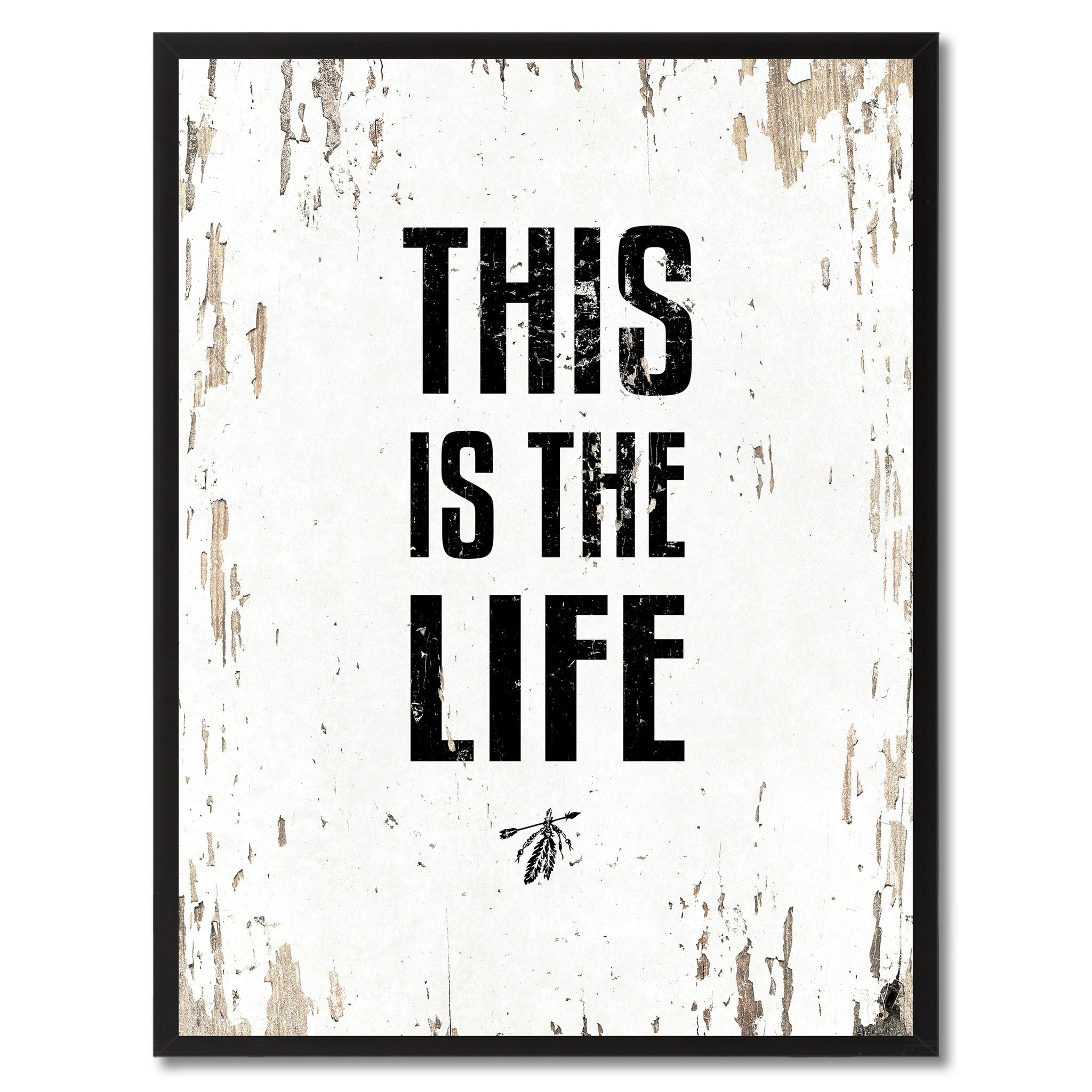 This Is The Life Saying Canvas Print, Black Picture Frame Home Decor Wall Art Gifts