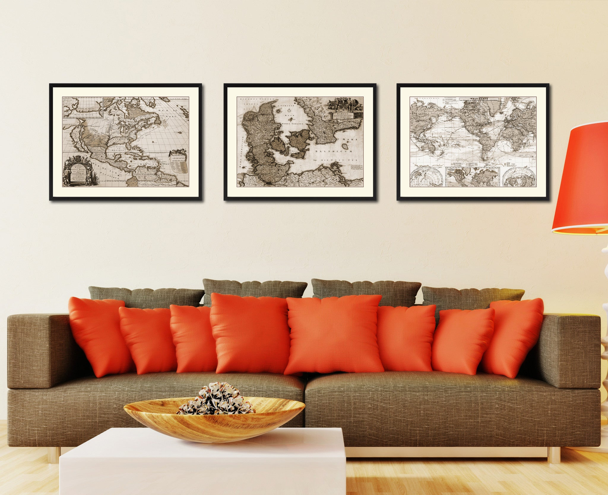 Denmark Centuries Vintage Sepia Map Canvas Print, Picture Frame Gifts Home Decor Wall Art Decoration