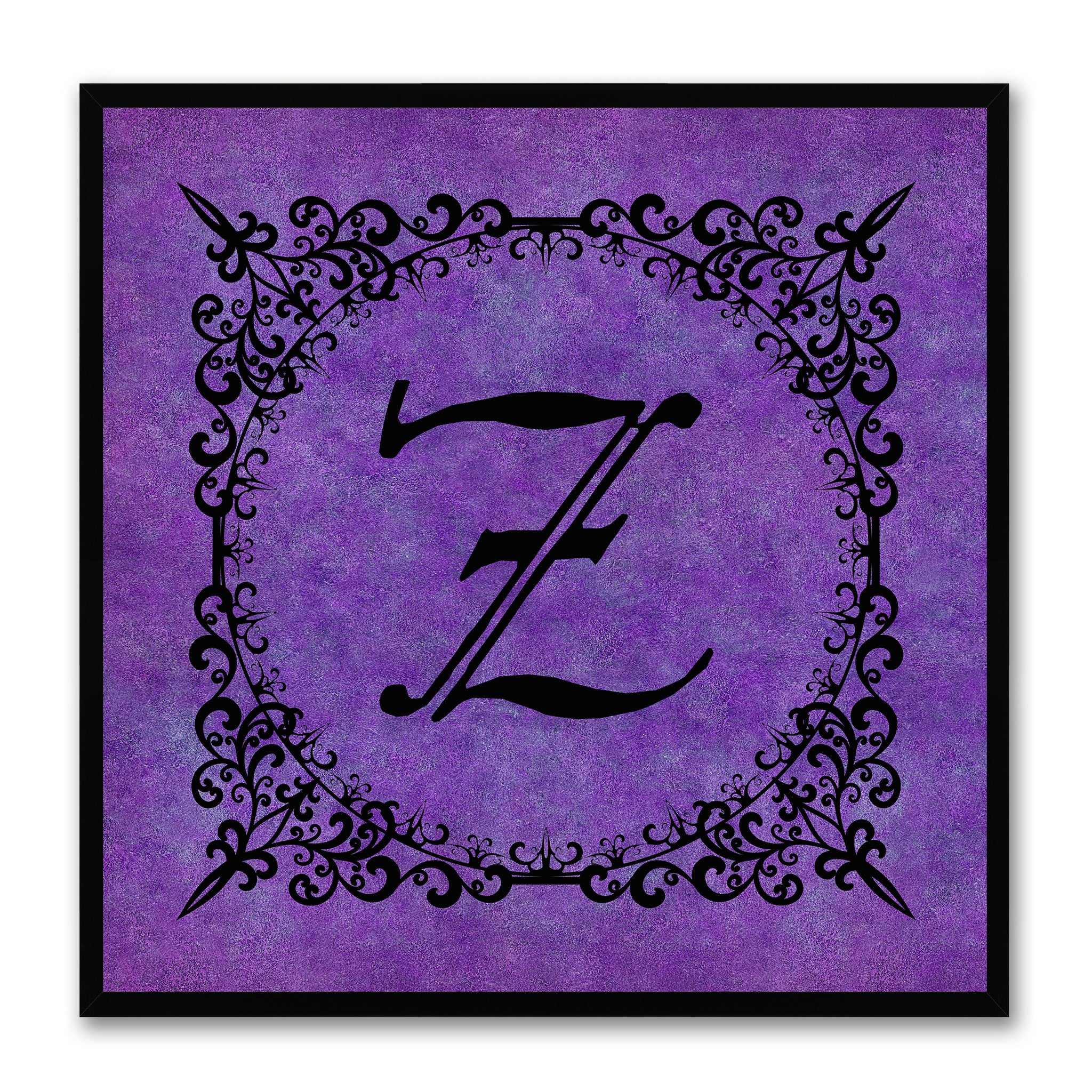 Alphabet Z Purple Canvas Print Black Frame Kids Bedroom Wall Décor Home Art