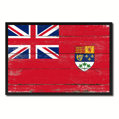 Canadian Red Ensign City Canada Country Flag Vintage Canvas Print with Black Picture Frame Home Decor Wall Art Collectible Decoration Artwork Gifts