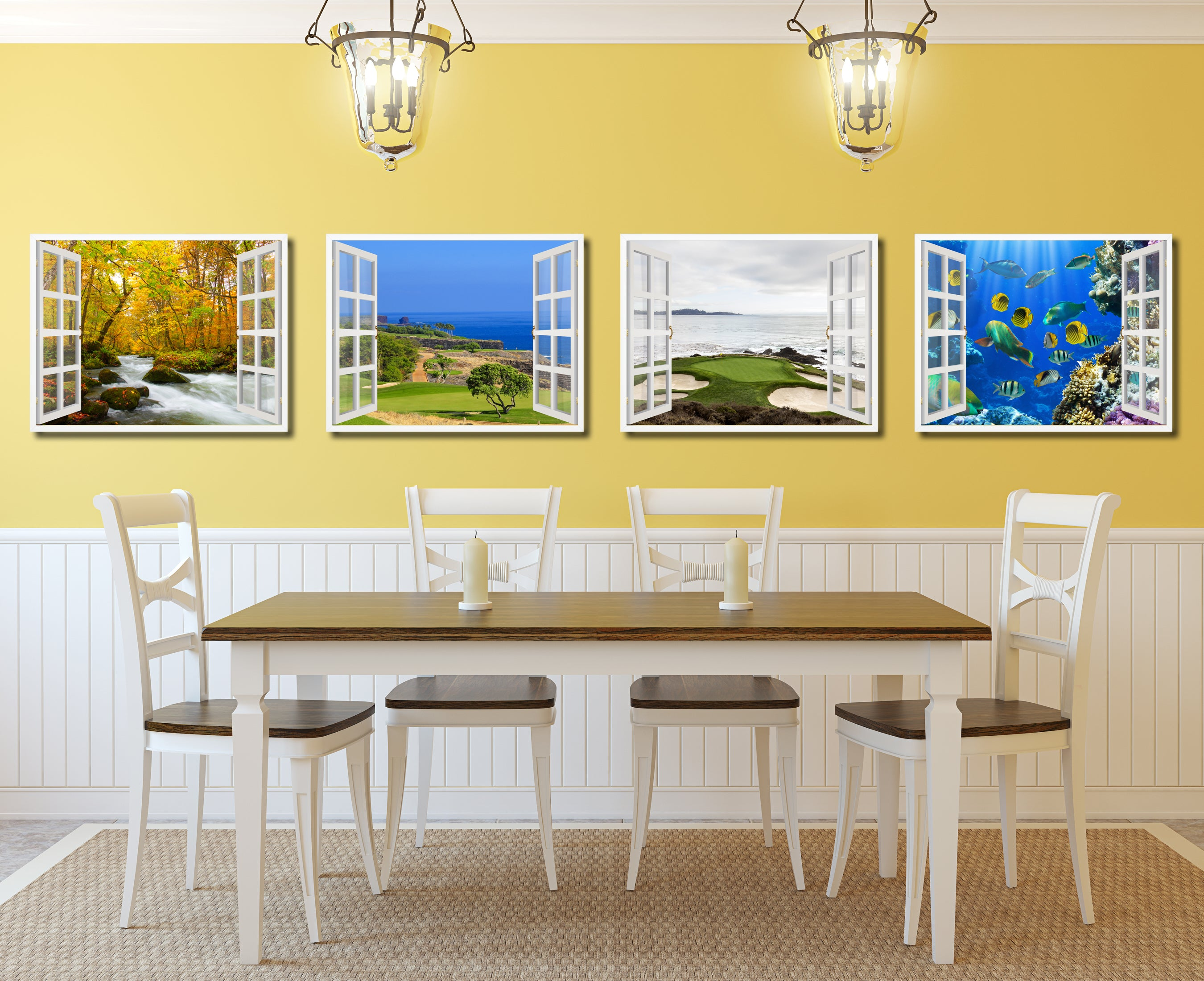 Coastal Golf Course View Picture French Window Framed Canvas Print Home Decor Wall Art Collection