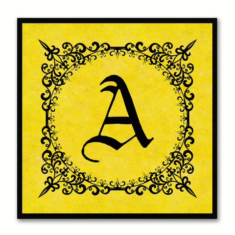 Alphabet A Yellow Canvas Print Black Frame Kids Bedroom Wall Décor Home Art