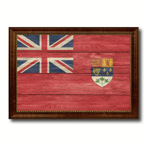 Canadian Red Ensign City Canada Country Texture Flag Canvas Print Brown Picture Frame