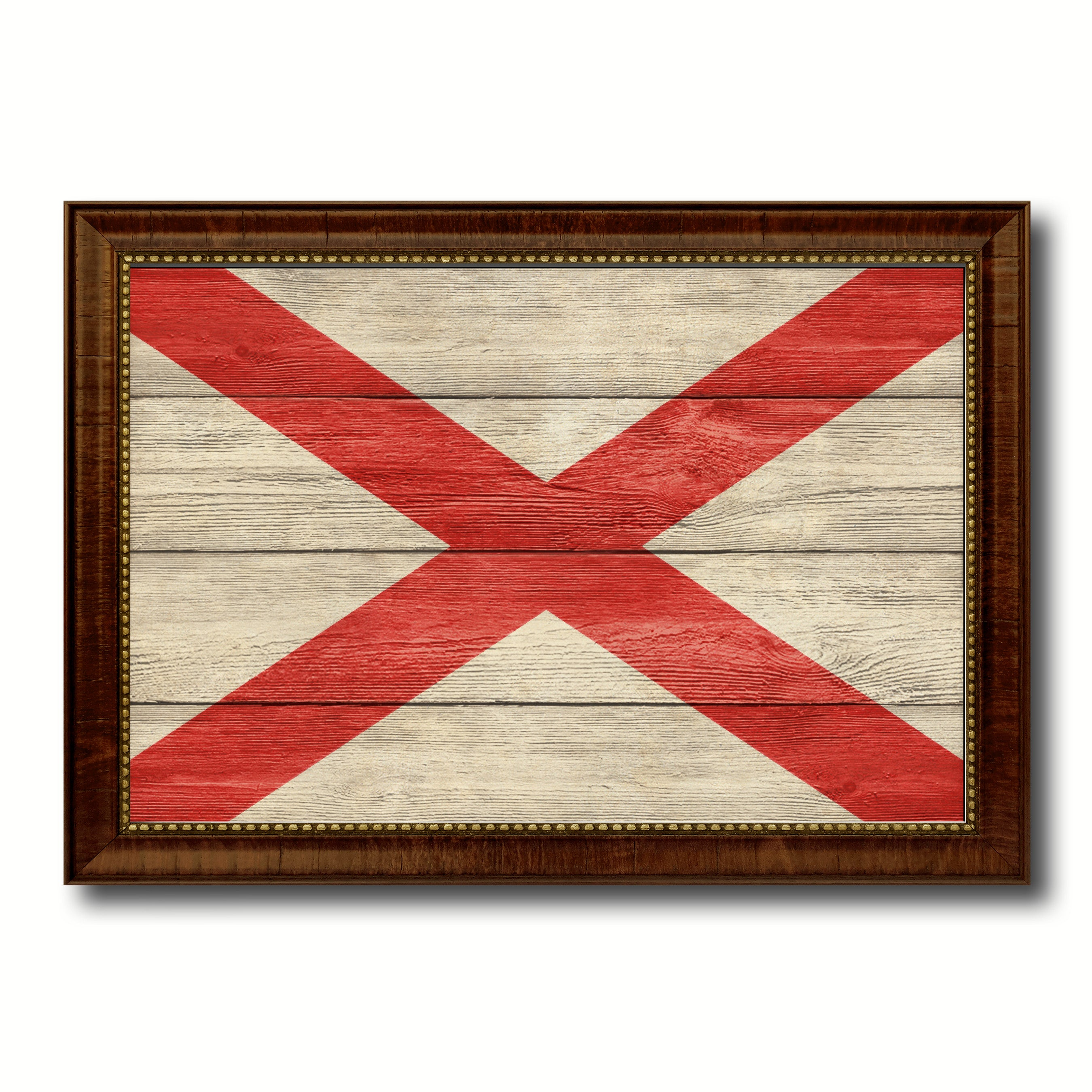Alabama State Flag Texture Canvas Print with Brown Picture Frame Gifts Home Decor Wall Art Collectible Decoration