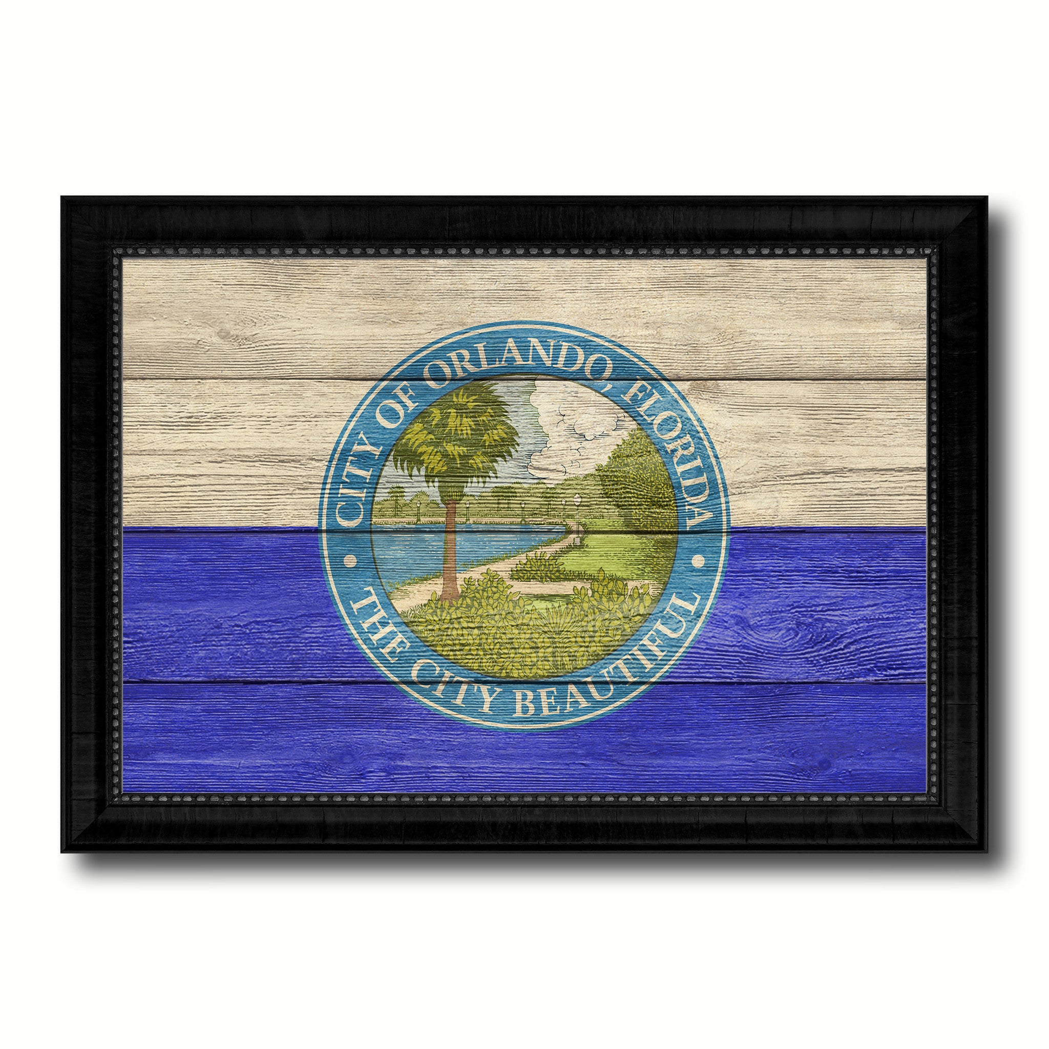 Orlando City Florida State Texture Flag Canvas Print Black Picture Frame